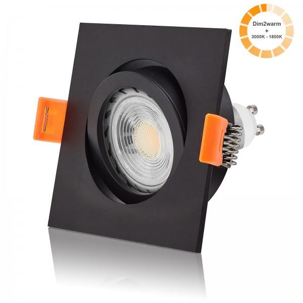LED Einbaustrahler Set dimmbare Farbtemperatur 1800K-3000K inkl. Forma schwarz Einbaurahmen 7W GU10 dim2warm
