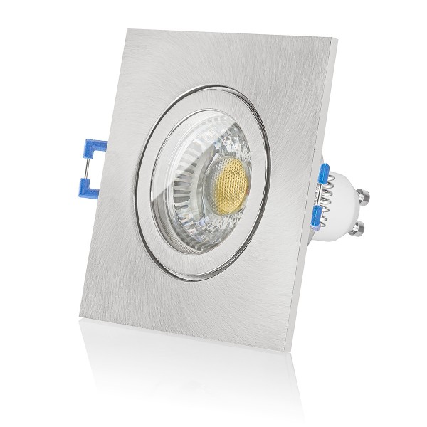 LEDOX LED Set Bad Einbaustrahler IP44 Eisen gebürstet eckig ...
