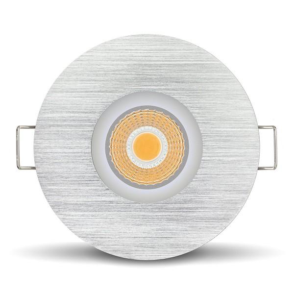 LED 1er Set Feuchtraumleuchte IP65 Einbau Strahler Lampen Aluminium 2700K Warmweiß 6W EXTRA FLACH 450 Lumen Ra über 90 Spot dimmbar mit Alurahmen für Decken rund