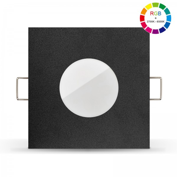 Led Bad Einbaustrahler Set IP65 dimmbar inkl. Lista Aqua Einbaurahmen schwarz 230V 6W mit RGB alle Farben