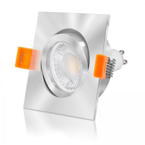 Led Einbaustrahler Set dimmbar, austauschbar und schwenkbar inkl. Forma Einbaurahmen chrom aus Aluminium 230V 7W GU10 mit Ra>93