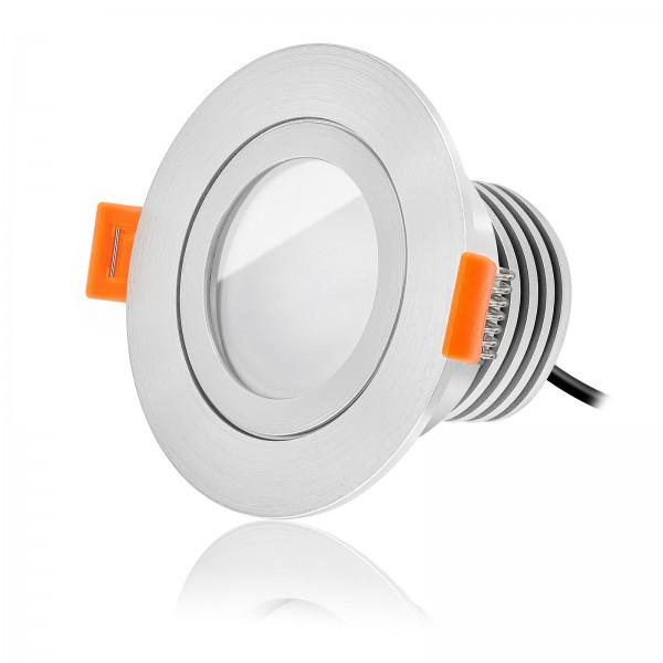 LED Bad Einbaustrahler Set IP44 dimmbar inkl. Forma RM Einbaurahmen gebürstet 230V 10W Modul warmweiß