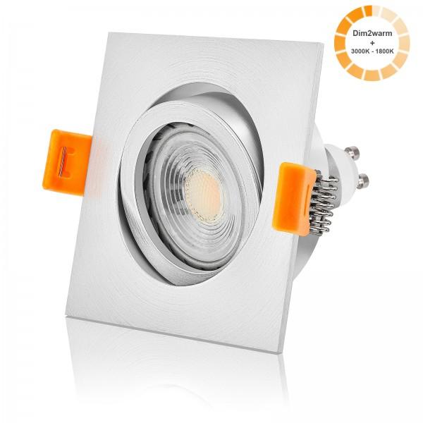 FORMA EM LED Einbaustrahler Set dimmbare Farbtemperatur 1800K-3000K inkl. Einbaurahmen 230V 7W GU10