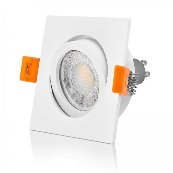 LED Einbaustrahler Set dimmbar & schwenkbar inkl. Einbaurahmen weiß 230V 7W GU10 3000k warmweiß