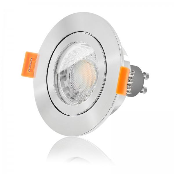 LEDOX LED Set Bad Einbaustrahler IP44 - Badbeleuchtung rund Lochausschnitt 57mm mit 7W Led 3000k warmweiß GU10