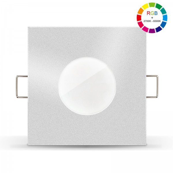 Led Bad Einbaustrahler Set IP65 dimmbar inkl. Lista Aqua Einbaurahmen silber 230V 6W mit RGB alle Farben
