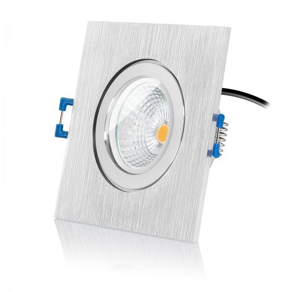 Led Bad Einbauspot IP44 Set inkl. Bicolor Einbaurahmen gebürstet 230V 6W Modul extra flach