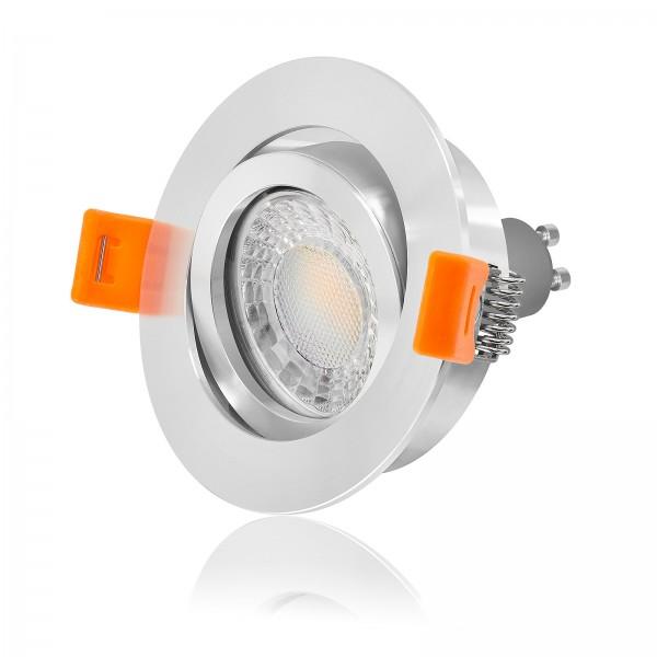 LED Einbaustrahler Set dimmbar & schwenkbar inkl. Premium Einbaurahmen 230V 7W GU10 3000K warmweiß