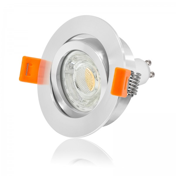 LED Einbaustrahler Set dimmbar & schwenkbar inkl. Premium Einbaurahmen Forma poliert 230V 10W GU10 3000k