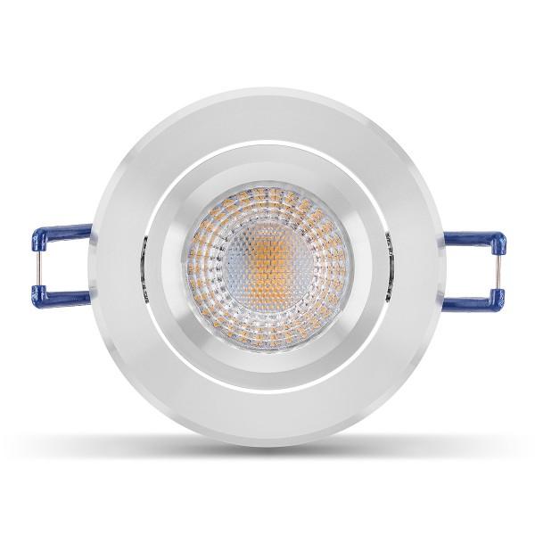 Elegant & hochwertig - LED Einbaustrahler Set I inkl. Einbaurahmen poliert | 230V 5W GU10 3000K