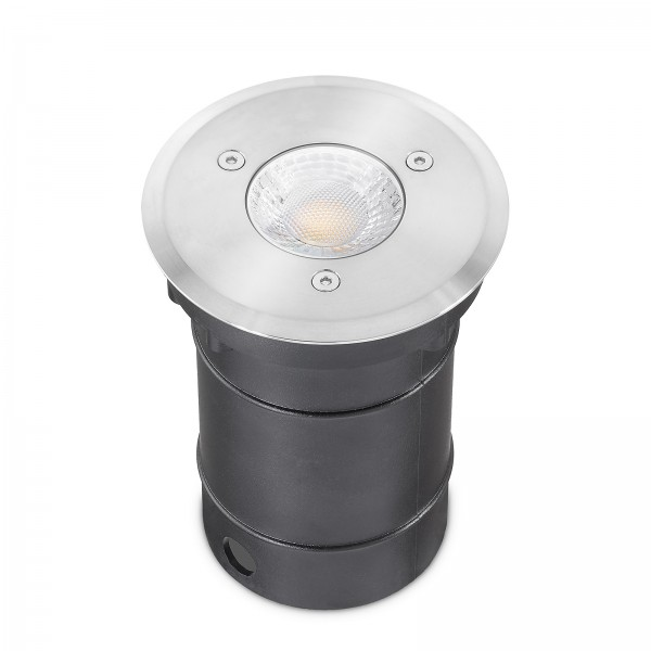 LED Bodeneinbaustrahler Set IP67 dimmbar Blende Edelstahl 230V 7W GU10 - Wegeleuchte mit Ra>93