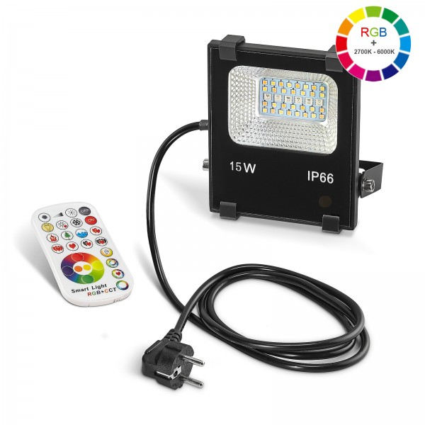 LED Wandfluter IP66 - wasserdicht I 230V 15W RGB + CCT I Flutlicht Außen Strahler Fluter Deko Wandleuchte Wandlampe - Set