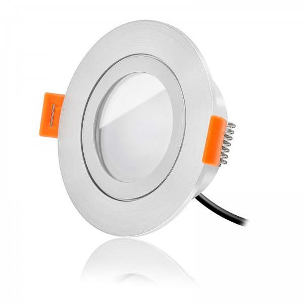 LED Bad Einbaustrahler Set IP44 dimmbar inkl. Forma RM Einbaurahmen gebürstet 230V 6W Modul warmweiß