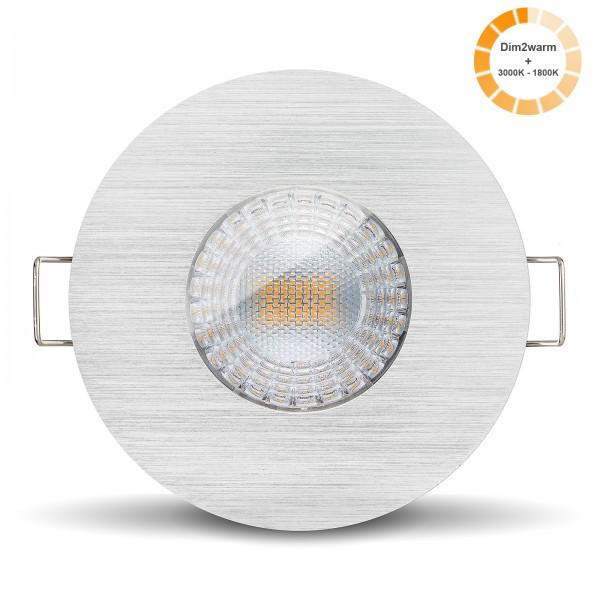 LED Bad Einbaustrahler Set IP65 dimmbare steuerbare Farbtemperatur 1800K-3000K Einbaurahmen gebürstet 230V 7W