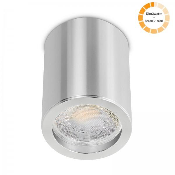 Tube Pure Aufbauleuchte - 230V 7W Modul dimm2warm - 60° Abstrahlung - dimmbar - Aufbaurahmen silber poliert Aluminium 10cm