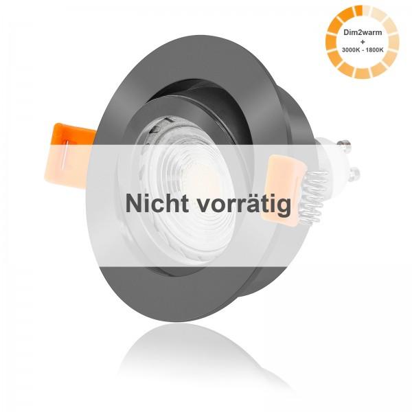 LED Einbaustrahler Set dimmbare Farbtemperatur 1800K-3000K inkl. Forma Einbaurahmen anthrazit 7W GU10 dimtowarm