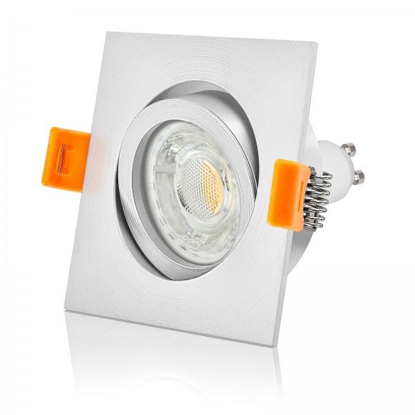 FORMA EM LED Einbaustrahler Set dimmbar & schwenkbar inkl. Einbaurahmen fein gebürstet 230V 10W GU10 3000k