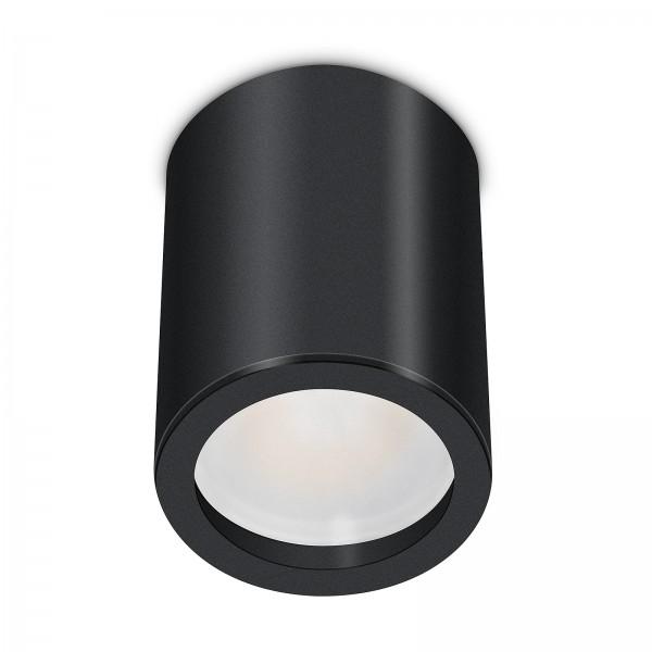 Tube Pure Aufbauleuchte - 230V 6W Modul dimmbar - Aufbaurahmen schwarz Aluminium 10cm