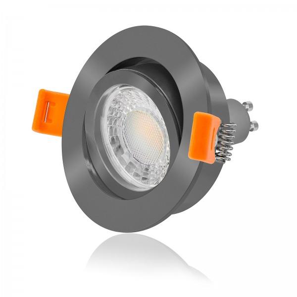 LED Einbaustrahler Set dimmbar inkl. Einbaurahmen Forma rund anthrazit 230V 7W GU10 3000K Spot Deckenleuchte