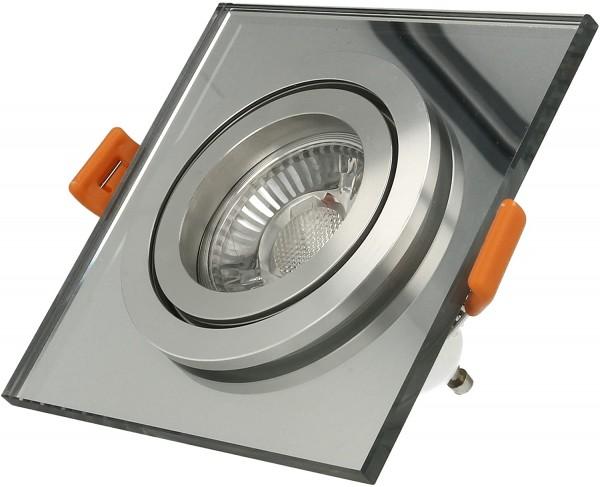 LISTA VIDRIO Einbaustrahler Design Echtglas Einbaurahmen spiegel eckig schwenkbar 68mm Lochausschnitt