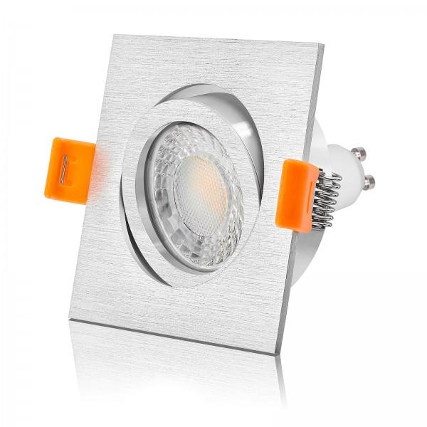 FORMA E LED Einbaustrahler Set dimmbar & schwenkbar inkl. Einbaurahmen eckig quadratisch gebürstet 230V 7W GU10 Ra>93