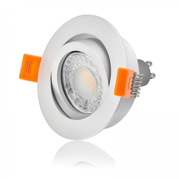 Ledox LED Premium Einbaustrahler Set dimmbar & schwenkbar inkl. Einbaurahmen Forma silber matt 230V 7W GU10 3000k warmweiß
