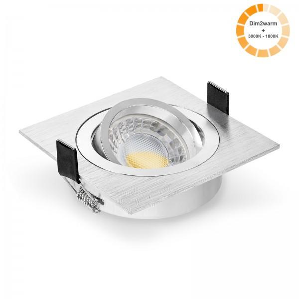 LED Einbaustrahler Set dimmbare steuerbare Farbtemperatur 1800K-3000K & Einbaurahmen eckig gebürstet 230V 7W Modul