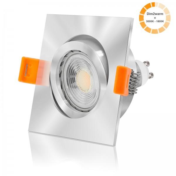LED Einbaustrahler Set dimmbare Farbtemperatur 1800K-3000K inkl. Forma chrom Einbaurahmen 7W GU10 dimtowarm