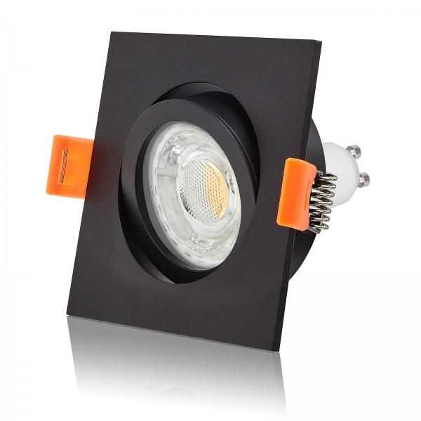 LED Einbaustrahler Set dimmbar & schwenkbar inkl. Premium Einbaurahmen Forma schwarz eckig 230V 10W GU10 3000k