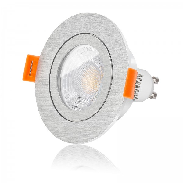 LED Bad Einbaustrahler Set IP44 dimmbar inkl. Forma R Einbaurahmen gebürstet 230V 7W GU10 mit Ra>93