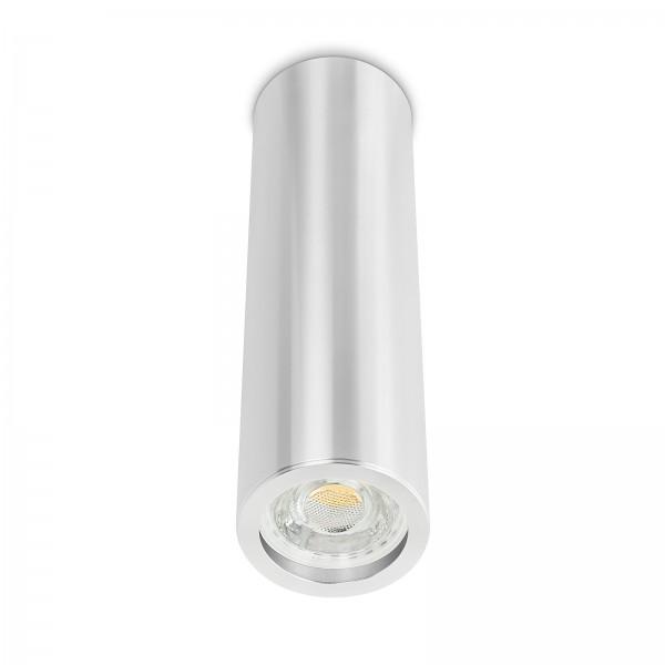 Tube Pure Aufbauleuchte - Aufbaurahmen silber poliert Aluminium 24cm 230V 10W GU10 3000K dimmbar