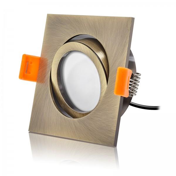LED Einbaustrahler Set dimmbar & schwenkbar inkl. Premium Einbaurahmen Forma Bronze gebürstet 230V 7W Modul inkl. Trafo
