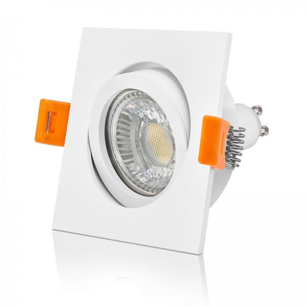LED Einbaustrahler Set dimmbar & schwenkbar inkl. Einbaurahmen weiß 230V 6W GU10 Deckenleuchte Ra>90