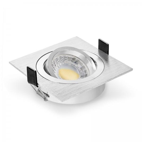 LED Einbaustrahler Set dimmbar & schwenkbar inkl. Einbaurahmen Bicolor eckig gebürstet 230V 7W Modul