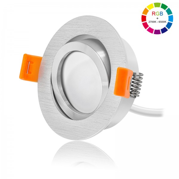 FORMA R LED Einbaustrahler Set dimmbar & schwenkbar Ring poliert 230V 11W Modul RGB-WWW inklusive Fernbedienung