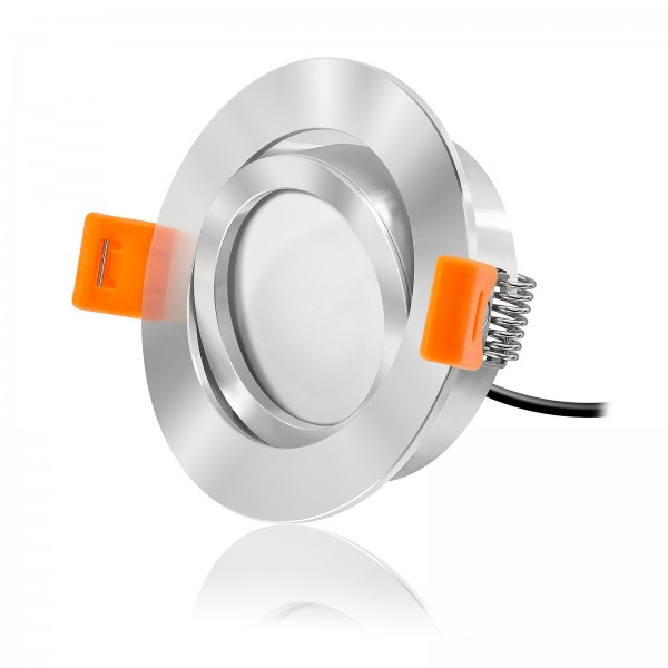 LED Einbaustrahler Set dimmbare Farbtemperatur 1800K-3000K inkl. Forma RC chrom Einbaurahmen 230V 7W Modul extra flach