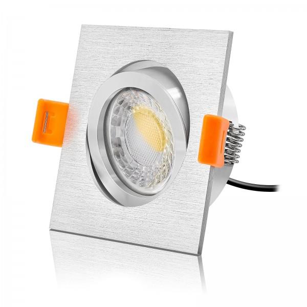 Ledox Led Einbaustrahler Set dimmbar & schwenkbar inkl. Forma Einbaurahmen gebürstet 230V 7W Modul inkl. Trafo 2700k warmweiß