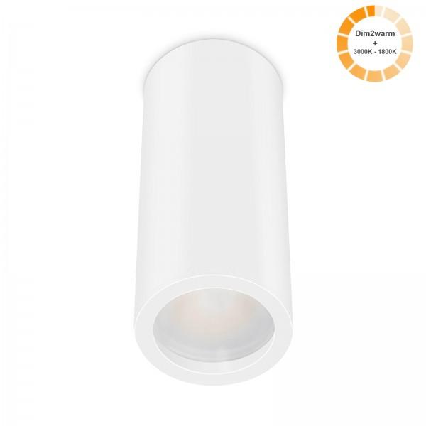 Tube Pure Aufbauleuchte - 230V 7W Modul dimm2warm - 120° Abstrahlung - dimmbar - Aufbaurahmen weiß Aluminium 17cm