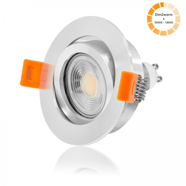 FORMA RP LED Einbaustrahler Set dimmbare Farbtemperatur 1800K-3000K inkl. Einbaurahmen 230V 7W GU10