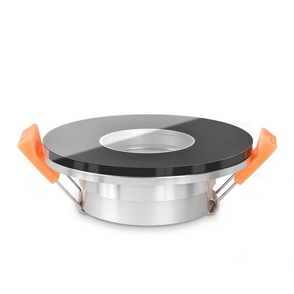 LISTA VIDRIO Bad Einbaustrahler IP44 Echtglas Einbaurahmen schwarz rund 68mm Lochausschnitt - seitlich
