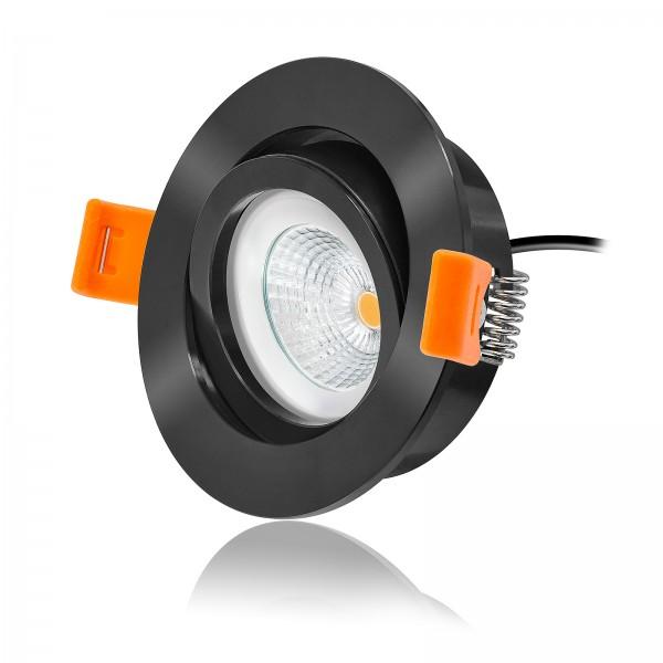 LED Einbauleuchten Set dimmbar inkl. Forma Einbaurahmen schwarz rund 230V 6W EXTRA FLACH