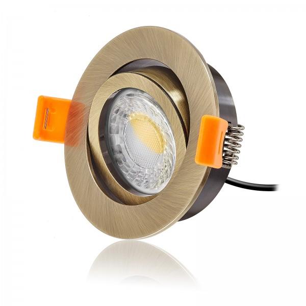 LED Einbaustrahler Set dimmbar & schwenkbar inkl. Einbaurahmen bronze 230V 7W Modul 24mm