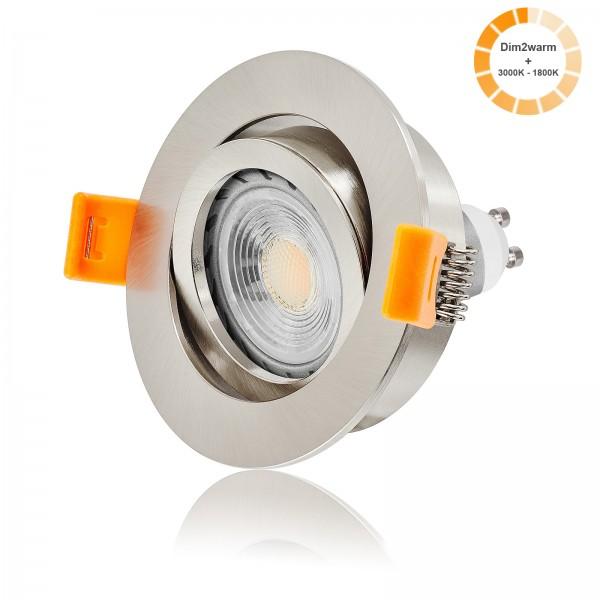 LED Einbaustrahler Set dimmbare Farbtemperatur 1800K-3000K inkl. Forma RE 230V 7W GU10