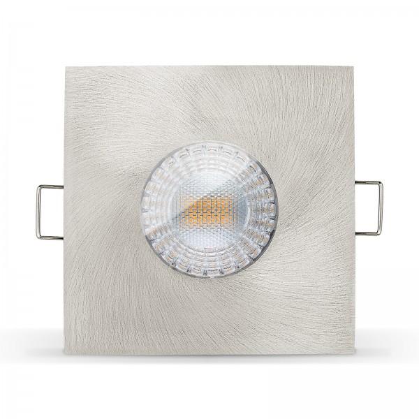 LISTA AQUA LED Bad Einbaustrahler Set IP65 dimmbar inkl. Einbaurahmen eisen gebürstet 230V 7W Modul inkl. Trafo extra flach mit Ra>90