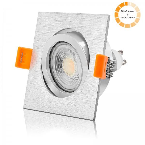 LED Einbaustrahler Set dimmbare Farbtemperatur 1800K-3000K inkl. Forma gebürstet Einbaurahmen 7W GU10 mit poliertem Ring