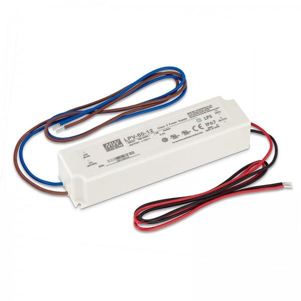 Led Trafo von Mean Well IP67 60W 12V / DC Konstantspannung nicht dimmbar Überlastschutz