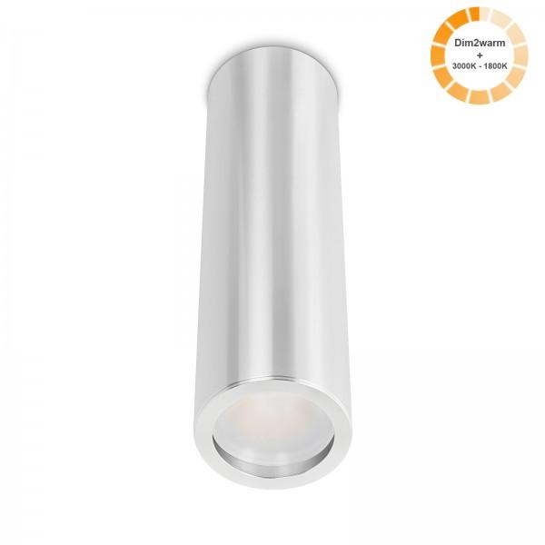 Tube Pure Aufbauleuchte silber poliert Aluminium 24cm 230V 7W dimmbare Lichtfarbe 120° - Abstrahlung 95 CRI