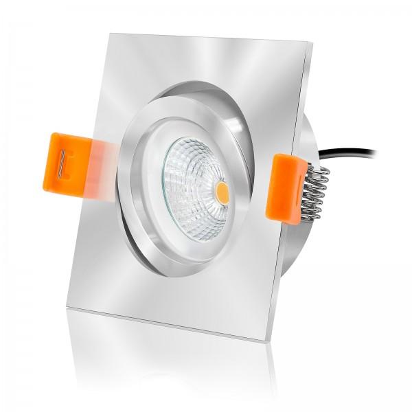 LED Einbauleuchten Set dimmbar inkl. Einbaurahmen chrom 230V 6W 2700K warmweiß extra flach mit Ra>90