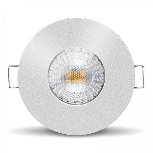 LISTA AQUA LED Bad Einbaustrahler Set IP65 dimmbar inkl. Einbaurahmen rund silber 230V 7W Modul inkl. Trafo mit Ra>90 - Frontanischt