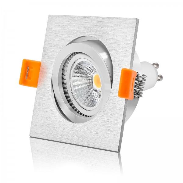 Hochwertiger FORMA Einbaustrahler Set aus CNC-gefrästen Voll Aluminium gebürstet inkl. Led Leuchtmittel 6W Gu10 2700k warmweiß